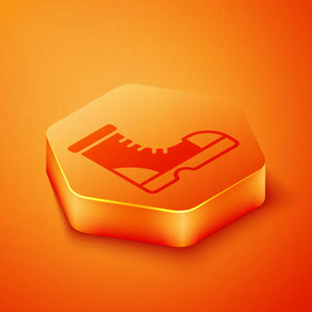 Isometric Hunter boots icon isolated on orange background. Orange hexagon button. Vector