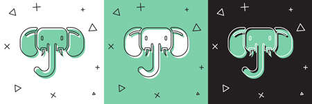 Set Elephant icon isolated on white and green, black background. Vector
