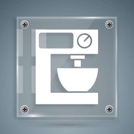 White Electric mixer icon isolated on grey background. Kitchen blender. Square glass panels. Vector Vecteurs