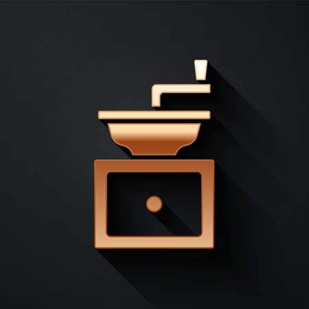 Gold Manual coffee grinder icon isolated on black background. Long shadow style. Vector