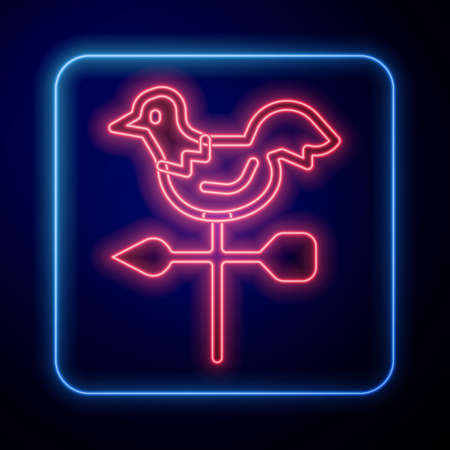 Glowing neon Rooster weather vane icon isolated on blue background. Weathercock sign. Windvane rooster. Vector