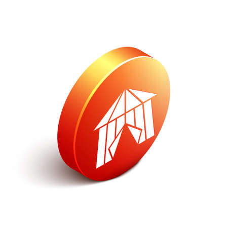 Isometric Circus tent icon isolated on white background. Carnival camping tent. Amusement park. Orange circle button. Vector Ilustrace