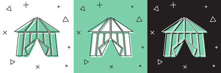 Set Circus tent icon isolated on white and green, black background. Carnival camping tent. Amusement park. Vector Ilustrace