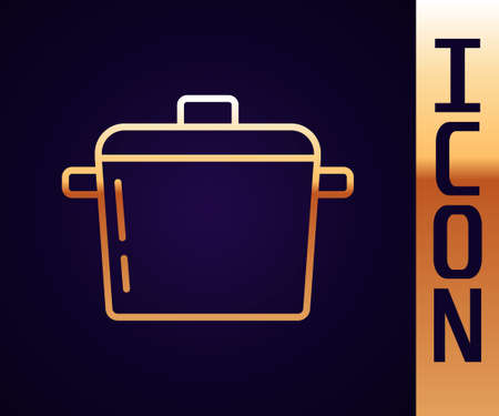 Gold line Cooking pot icon isolated on black background. Boil or stew food symbol. Vector