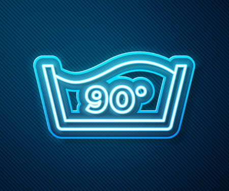 Glowing neon line Washing under 90 degrees celsius icon isolated on blue background. Temperature wash. Vector