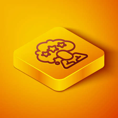 Isometric line Five stars customer product rating review icon isolated on orange background. Favorite, best rating, award symbol. Yellow square button. Vector
