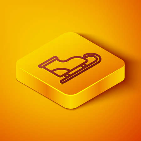 Isometric line Figure skates icon isolated on orange background. Ice skate shoes icon. Sport boots with blades. Yellow square button. Vector