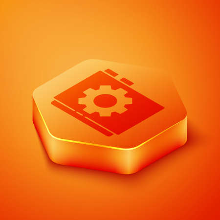 Isometric User manual icon isolated on orange background. User guide book. Instruction sign. Read before use. Orange hexagon button. Vector Illustration