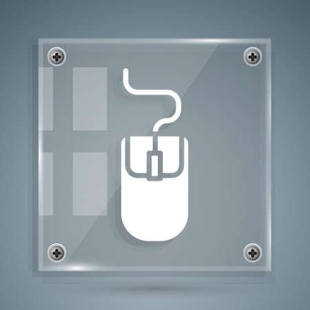 White Computer mouse icon isolated on grey background. Optical with wheel symbol. Square glass panels. Vector Illustration