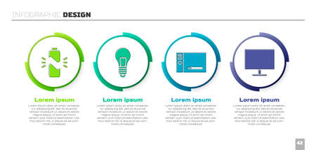 Set Broken battery, Light bulb with concept of idea, Graphic tablet and Computer monitor screen. Business infographic template. Vector