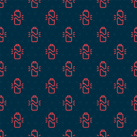Red line Broken battery icon isolated seamless pattern on black background. Vector Illustration