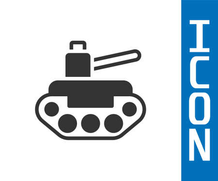 Grey Military tank icon isolated on white background. Vector