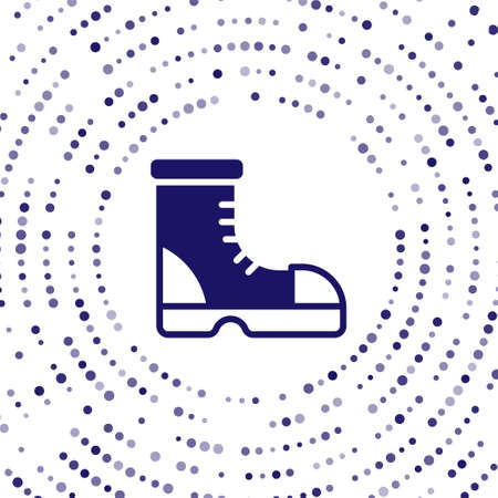 Blue Hunter boots icon isolated on white background. Abstract circle random dots. Vector