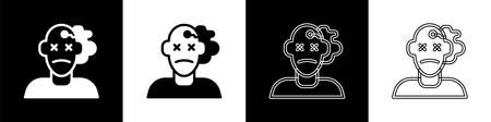 Set Murder icon isolated on black and white background. Body, bleeding, corpse, bleeding icon. Concept of crime scene. Vector