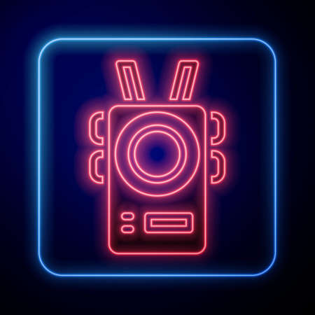 Glowing neon Police body camera icon isolated on blue background. Vector