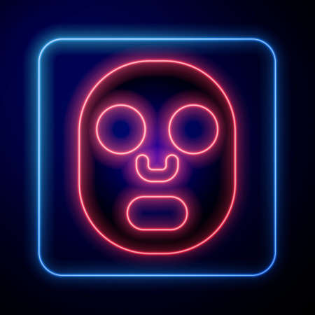 Glowing neon Facial cosmetic mask icon isolated on blue background. Cosmetology, medicine and health care. Vector