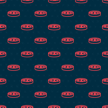 Red line Petri dish with bacteria icon isolated seamless pattern on black background. Vector