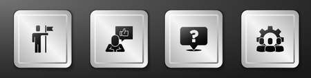 Set Team leader, Hand like, Question mark and Project team base icon. Silver square button. Vector