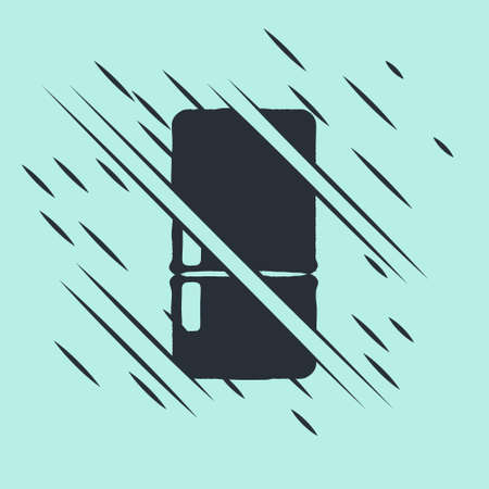Black Refrigerator icon isolated on green background. Fridge freezer refrigerator. Household tech and appliances. Glitch style. Vector