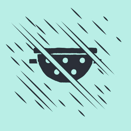 Black Kitchen colander icon isolated on green background. Cooking utensil. Cutlery sign. Glitch style. Vector