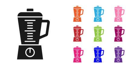 Black Blender icon isolated on white background. Kitchen electric stationary blender with bowl. Cooking smoothies, cocktail or juice. Set icons colorful. Vector