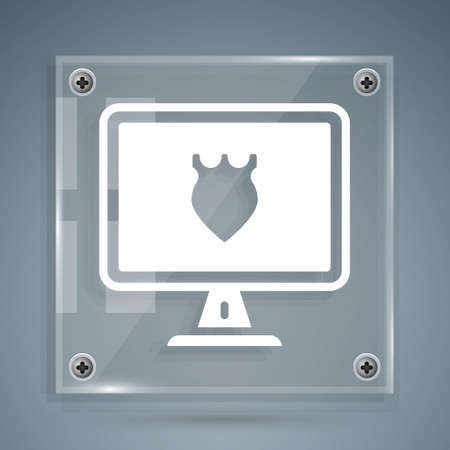 White Police database icon isolated on grey background. Police badge on monitor screen. Online police service concepts. Square glass panels. Vector