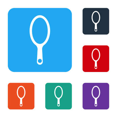 White Hand mirror icon isolated on white background. Set icons in color square buttons. Vector