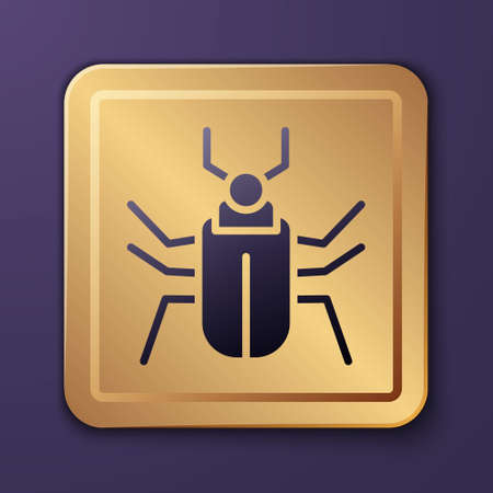 Purple Insect fly icon isolated on purple background. Gold square button. Vector