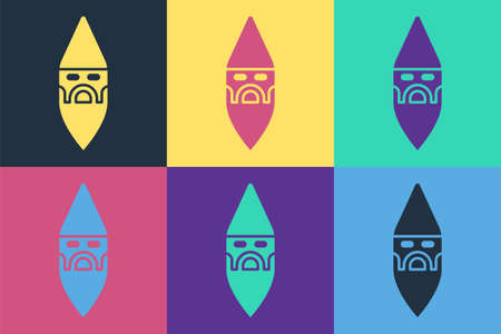 Pop art Wizard warlock icon isolated on color background. Vector