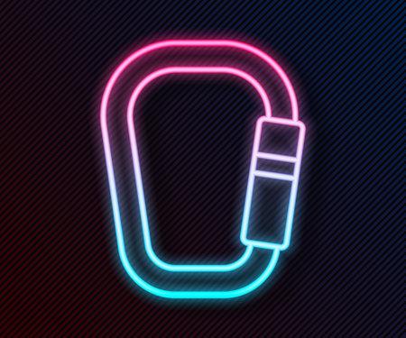Glowing neon line Carabiner icon isolated on black background. Extreme sport. Sport equipment. Vector Vektoros illusztráció