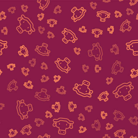 Brown line African buffalo head icon isolated seamless pattern on red background. Mascot, african savanna animal. Wild ox, carabao or bison bull with fused horns. Vector