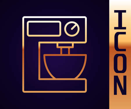 Gold line Electric mixer icon isolated on black background. Kitchen blender. Vector