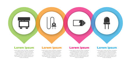 Set Fuse, Electric plug, Battery charge level indicator and Light emitting diode. Business infographic template. Vector