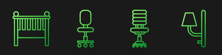 Set line Office chair, Baby crib cradle bed, Office chair and Wall sconce. Gradient color icons. Vector