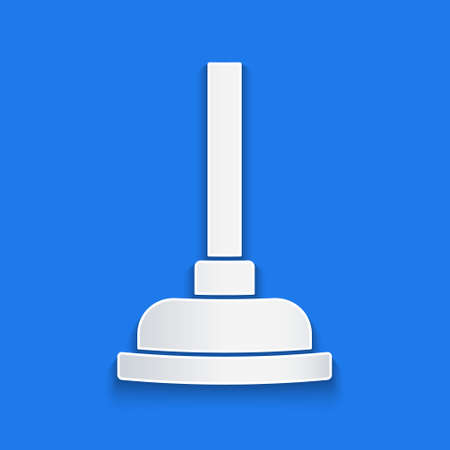 Paper cut Rubber plunger with wooden handle for pipe cleaning icon isolated on blue background. Toilet plunger. Paper art style. Vector