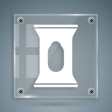 White Wet wipe pack icon isolated on grey background. Square glass panels. Vector