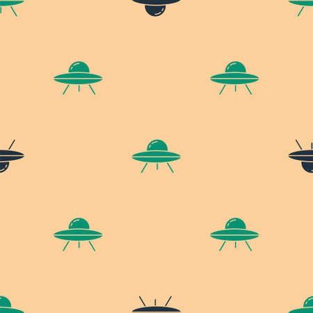 Green and black UFO flying spaceship icon isolated seamless pattern on beige background. Flying saucer. Alien space ship. Futuristic unknown flying object. Vector
