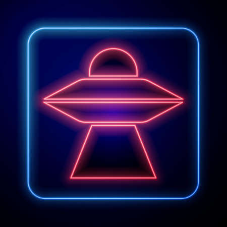Glowing neon UFO flying spaceship icon isolated on blue background. Flying saucer. Alien space ship. Futuristic unknown flying object. Vector