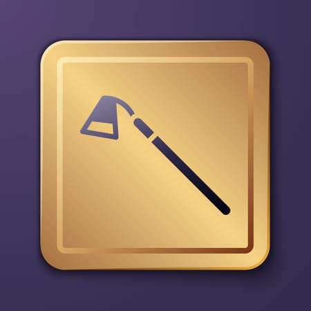 Purple Garden hoe icon isolated on purple background. Tool for horticulture, agriculture, farming. Gold square button. Vector