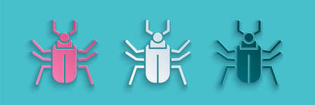 Paper cut Insect fly icon isolated on blue background. Paper art style. Vector