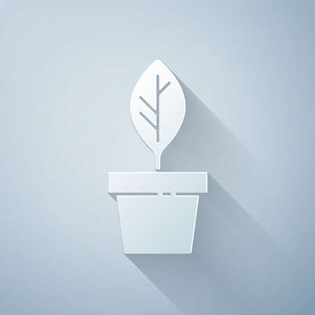 Paper cut Plant in pot icon isolated on grey background. Plant growing in a pot. Potted plant sign. Paper art style. Vector