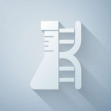 Paper cut DNA research, search icon isolated on grey background. Genetic engineering, genetics testing, cloning, paternity testing. Paper art style. Vector