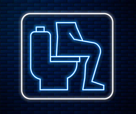 Glowing neon line Men sitting on the toilet and Constipation are experiencing severe abdominal pain icon isolated on brick wall background. Vector Stock Illustratie