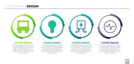 Set Fuse, Light bulb with concept of idea, Electric transformer and Electric circuit scheme. Business infographic template. Vector Vector Illustration