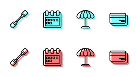 Set line Sun protective umbrella for beach, Paddle, Calendar and Credit card icon. Vector