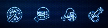 Set line Gmo research chicken, Petri dish with bacteria, GMO and Genetically modified meat. Glowing neon icon on brick wall. Vector