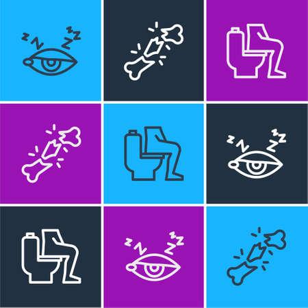 Set line Insomnia, Constipation and Human broken bone icon. Vector