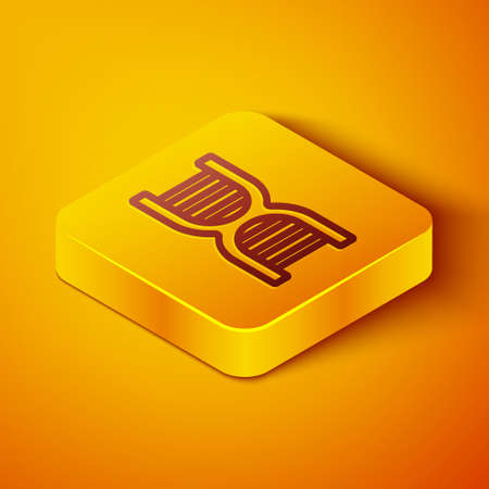 Isometric line DNA symbol icon isolated on orange background. Yellow square button. Vector