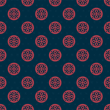 Red line Revolver cylinder icon isolated seamless pattern on black background. Vector