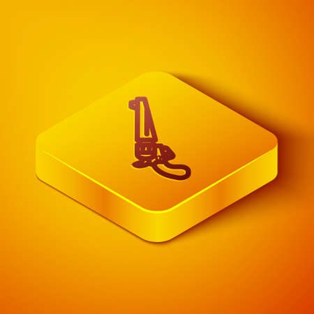 Isometric line Revolver gun icon isolated on orange background. Yellow square button. Vector